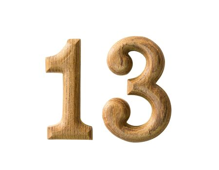 three wishes: Beautiful wooden numeric with shadow on white background