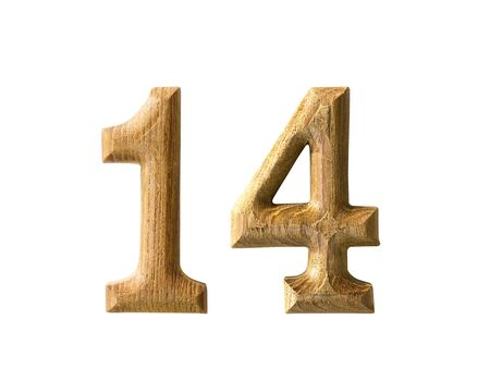 number 14: Beautiful wooden numeric with shadow on white background