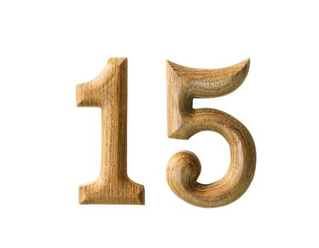 number 15: Beautiful wooden numeric with shadow on white background