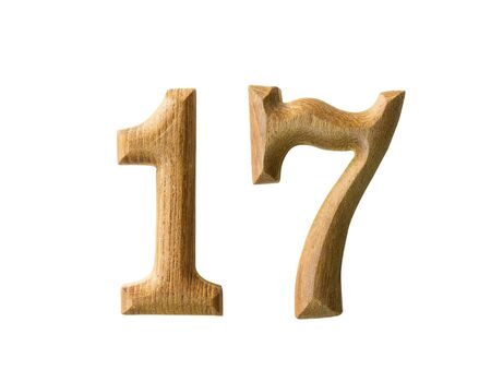 seventeen: Beautiful wooden numeric with shadow on white background