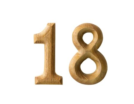 18: Beautiful wooden numeric with shadow on white background