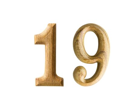 Beautiful wooden numeric with shadow on white background photo