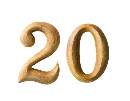 turns of the year: Beautiful wooden numeric with shadow on white background