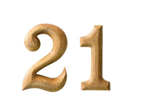 Beautiful wooden numeric with shadow on white background Stock Photo - 16724223