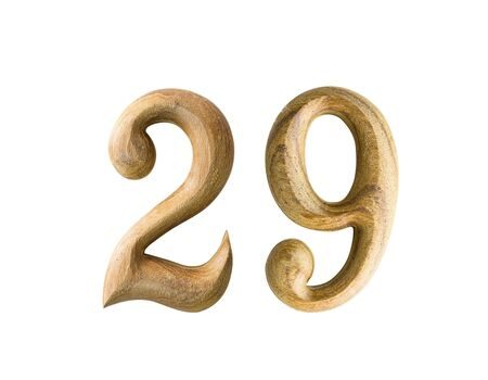 2 months: Beautiful wooden numeric with shadow on white background