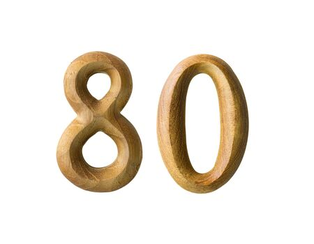 Beautiful wooden numeric isolated on white background Stock Photo - 16724228
