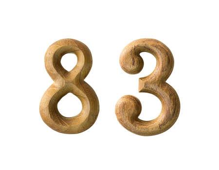 Beautiful wooden numeric isolated on white background Stock Photo - 16724241