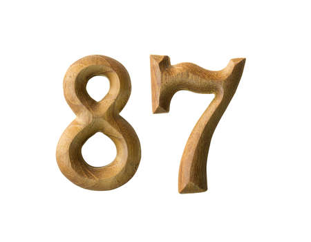 Beautiful wooden numeric isolated on white background photo