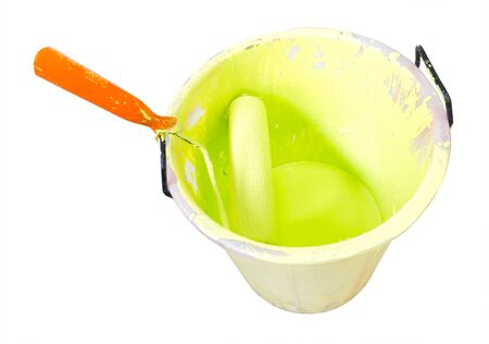paintroller: Paint-roller and Paint bucket with paint on a white background
