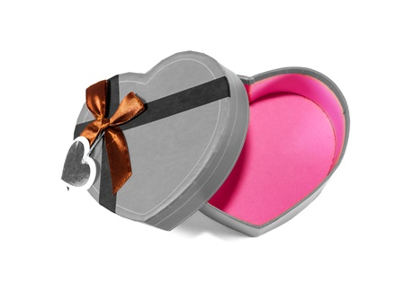 Gray Heart-shaped box in heart shape on white background photo