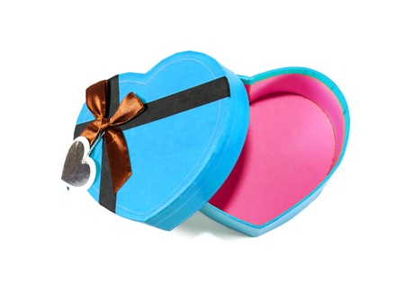 Blue Heart-shaped box in heart shape on white background photo