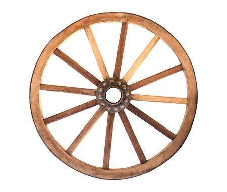 Houten wagenwiel van een wagen op een witte achtergrond Stockfoto - 17978905