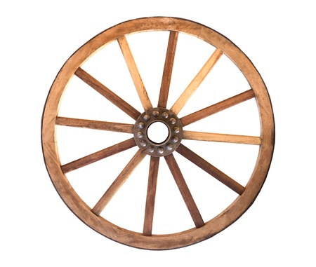 Wooden cartwheel from a wagon on a white background Stock Photo