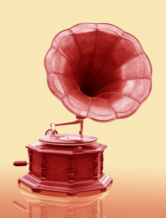 loudhailer: Vintage Gramophone with disc isolated on grunge background