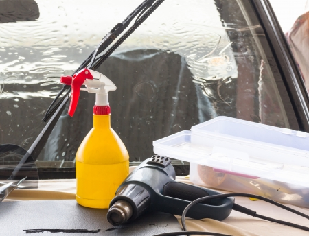 Car wash equipment used for washing car in garage Stock Photo - 18275723