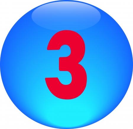 Alphabet icon symbol letter 3 on blue spherical photo