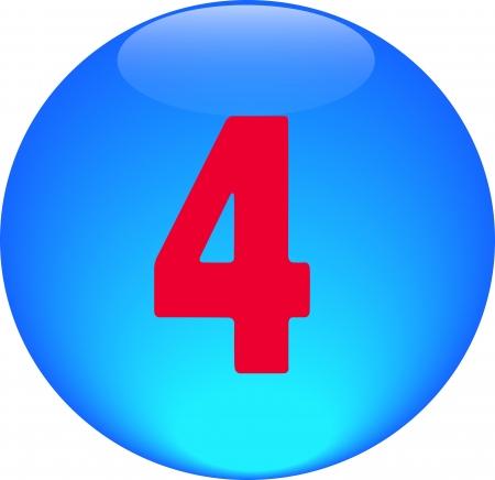 Alphabet icon symbol letter 4 on blue spherical photo