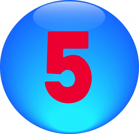 Alphabet icon symbol letter 5 on blue spherical photo