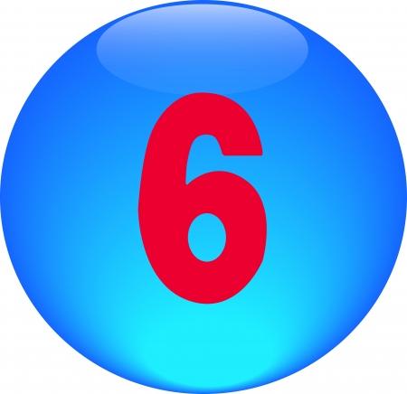 Alphabet icon symbol letter 6 on blue spherical photo