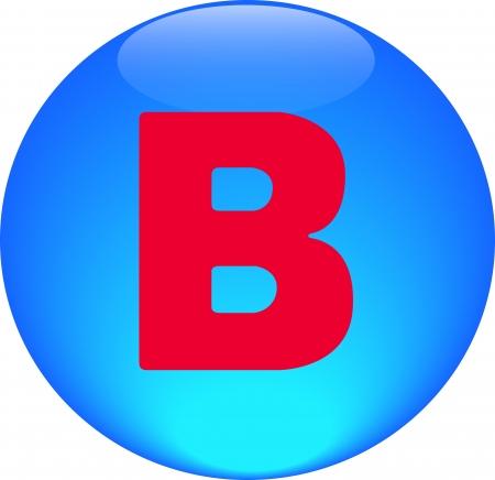 Alphabet icon symbol letter B on blue spherical photo