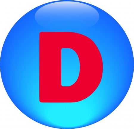 Alphabet icon symbol letter D on blue spherical photo