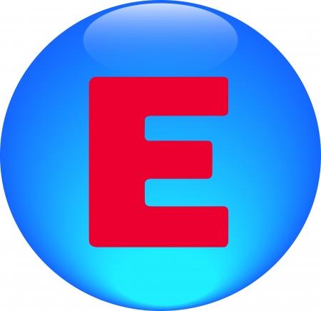 Alphabet icon symbol letter E on blue spherical photo