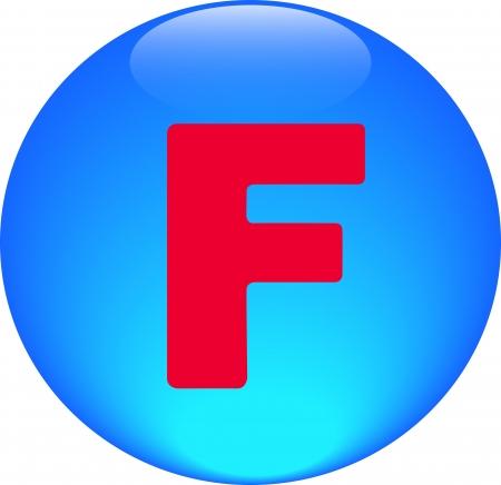 Alphabet icon symbol letter F on blue spherical photo