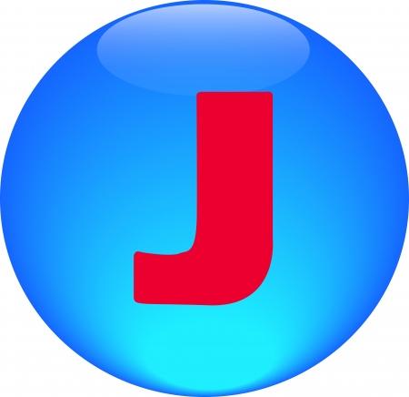 Alphabet icon symbol letter J on blue spherical photo