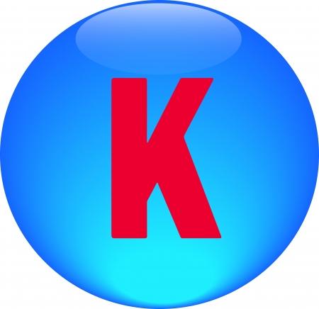 Alphabet icon symbol letter K on blue spherical photo
