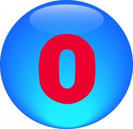 Alphabet icon symbol letter O on blue spherical photo