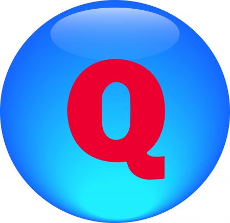 Alphabet icon symbol letter Q on blue spherical photo