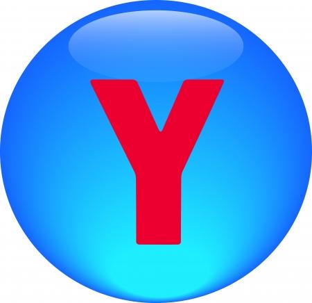 Alphabet icon symbol letter Y on blue spherical photo