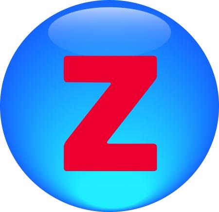 Alphabet icon symbol letter Z on blue spherical photo