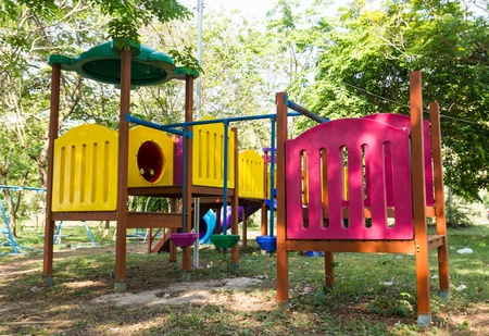 An image of a colorful children playground, without children photo