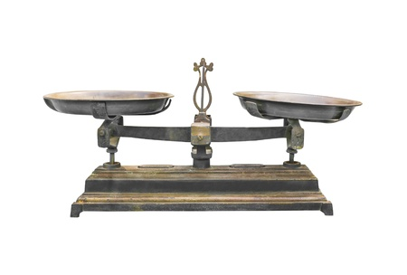 legal scales: Antique iron scale Isolated on white background With clipping path