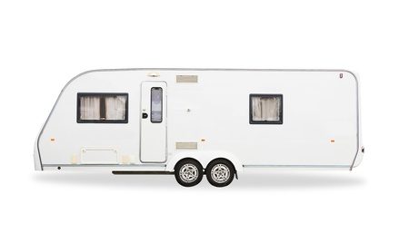 trailer: Mobile home  car isolated on white background Stock Photo