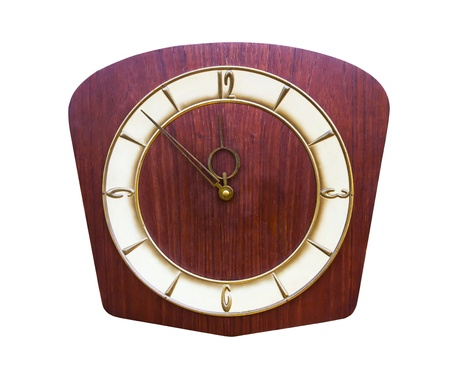 Vintage clock made of wood isolated on white photo