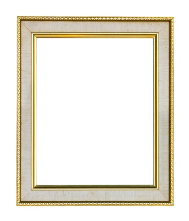 filagree: Empty wooden vintage frame isolated on white background Stock Photo