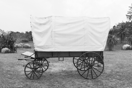 Black   White photo of old wagon wheels Covered wagon  in park photo
