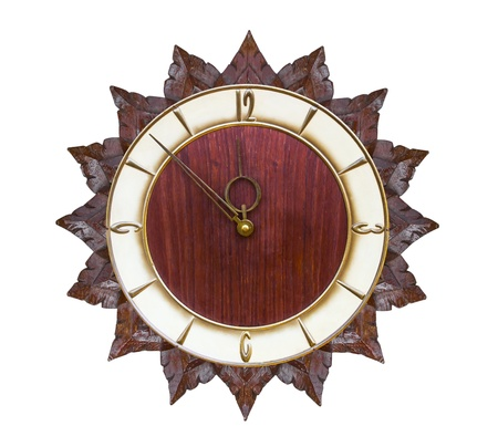 Vintage clock made ​​of wood isolated on white photo