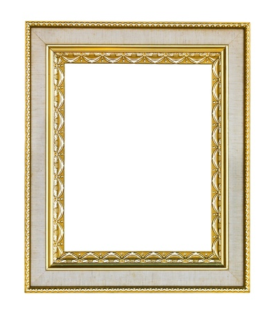 filagree: Empty wooden vintage frame isolated on white background Stock Photo