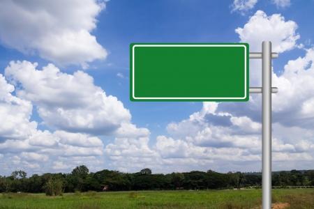 blank road sign: Blank billbroad against blue sky background