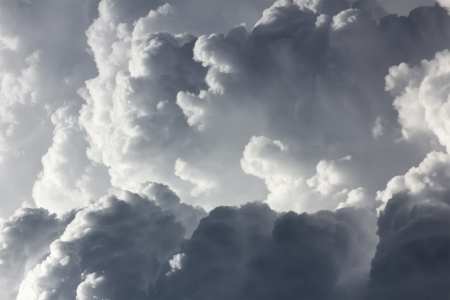 Closeup white and gray clouds before rainy.Storm clouds Stockfoto