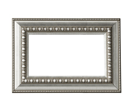 Silver vintage frame isolated on white background Stockfoto