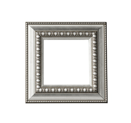 Silver vintage frame isolated on white background Stock Photo