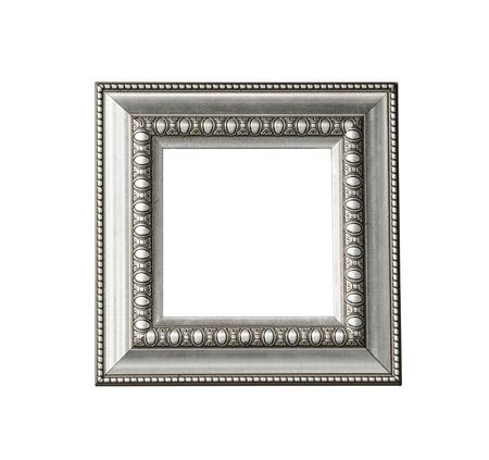 Zilveren vintage frame geïsoleerd op witte achtergrond Stockfoto - 21303393