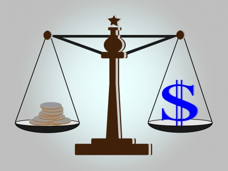 bestechung: Weinlese-Skalen mit Dollarzeichen und M�nzen auf der Waagschale