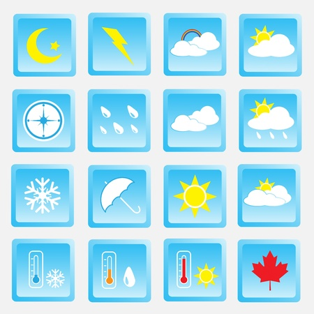 Vector collection of weather icons for web and mobile projects Vector