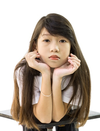 Asian girl supports her chin with her  isolated on white  background photo