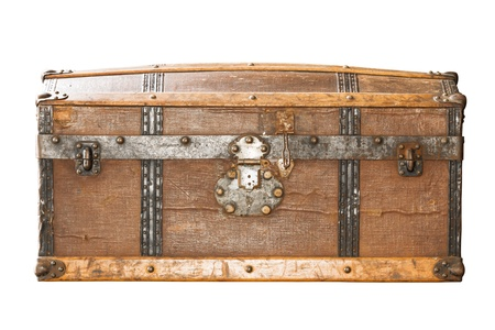 wooden lid: Detail of the lock of an old metal chest  Stock Photo